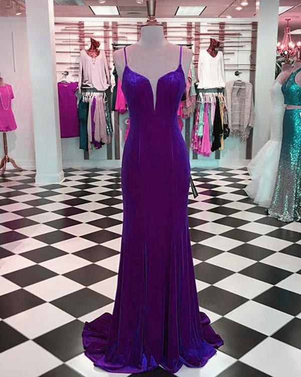 Sexy Purple Mermaid Prom Dresses with Spaghetti Straps Long Velvet Evening Party Gowns,P2255