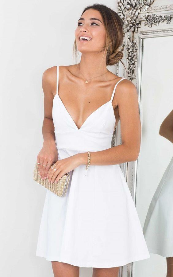 f839d055b87 Classic White V-neck Homecoming Dress