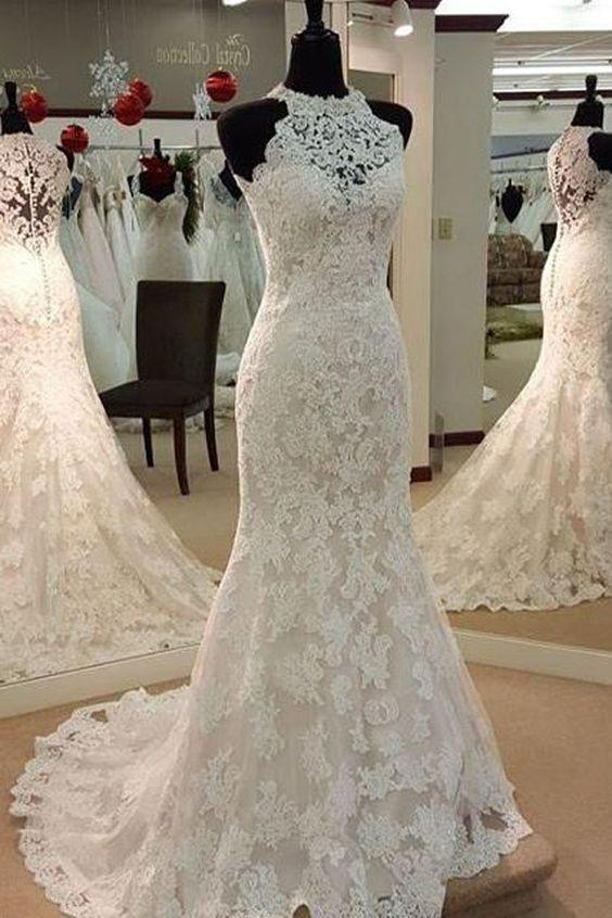 Y Halter Mermaid Lace Up Sleeveless Wedding Dress W2294
