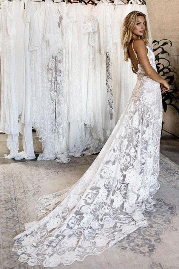 e49f4d2b56a Summer Lace Backless Simple V Neck Ivory Spaghetti Straps Beach Wedding  Dresses