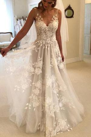 e3a2a18616305 Elegant A-line V-neck Tulle Floor Length Wedding Dresses With Lace  Appliques ,