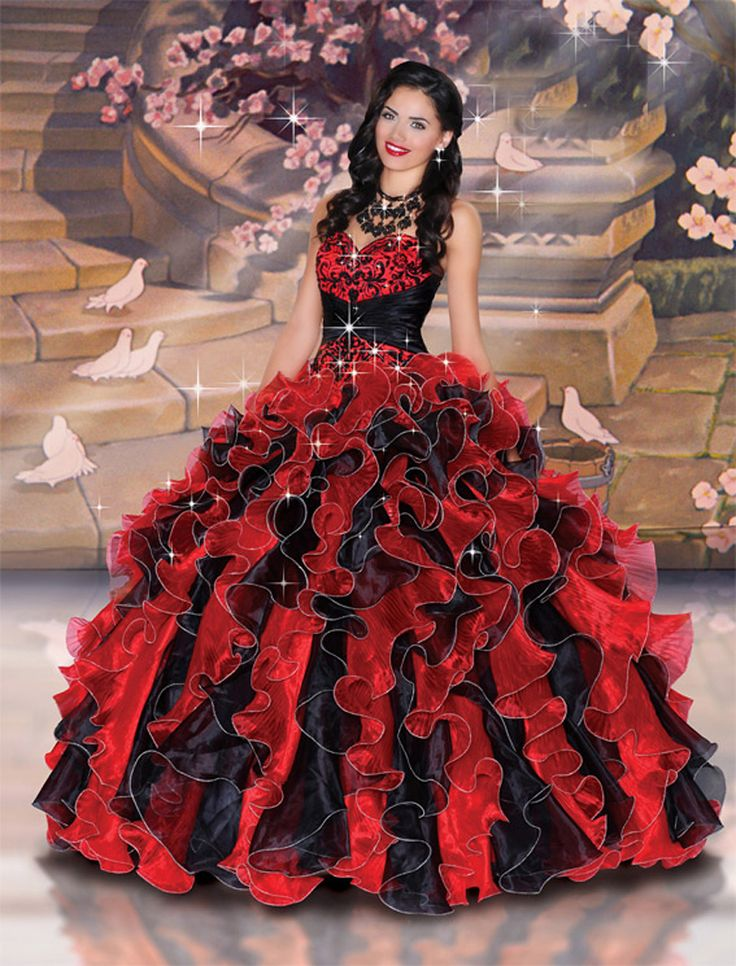 3e42e4b24cf Classic Red And Black Quinceanera Dress
