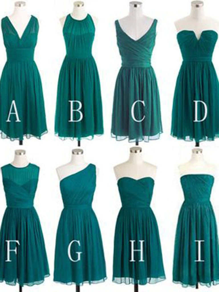 ae51a666d8d Short Bridesmaid Dresses Dark Green V-neck Sweetheart Chiffon Bridesmaid  Dresses