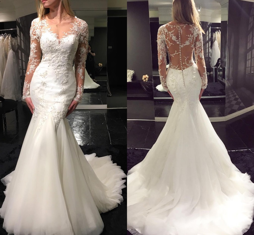 Mermaid Wedding Dresses With Sleeves: Elegant Mermaid Wedding Dresses Long Sleeves Lace Beading