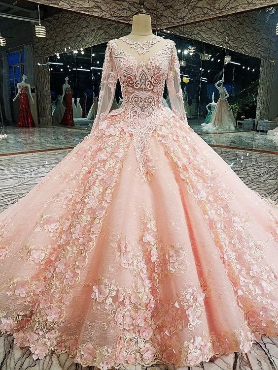 087349deb92 Long Sleeve Appliques Tulle Quinceanera Dresses With Flower