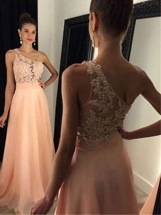 Simple A Line One Shoulder Pink Peach Lace Long Prom Dresses, Elegant Evening Dresses,P2882