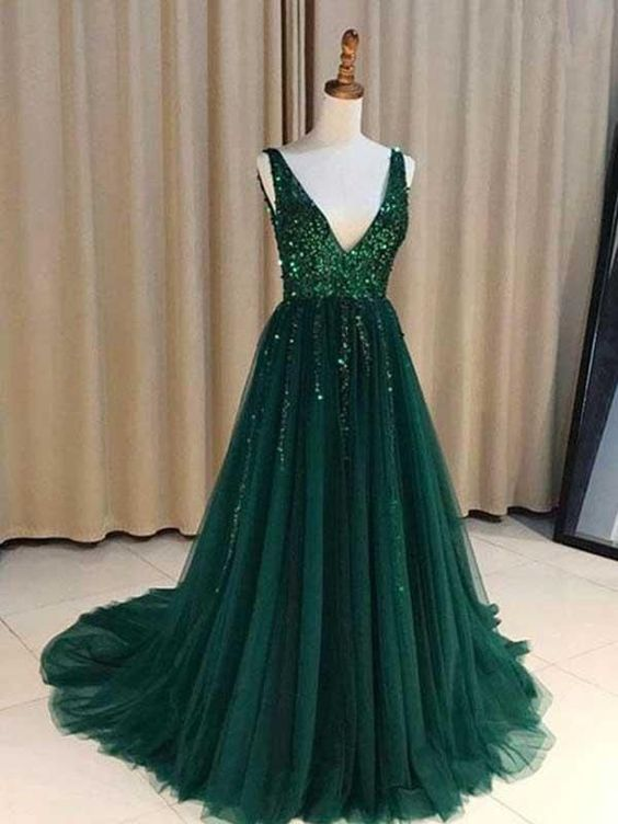 V Neck Emerald Green Tulle A line Long Custom Evening Prom Dresses, ,P3094