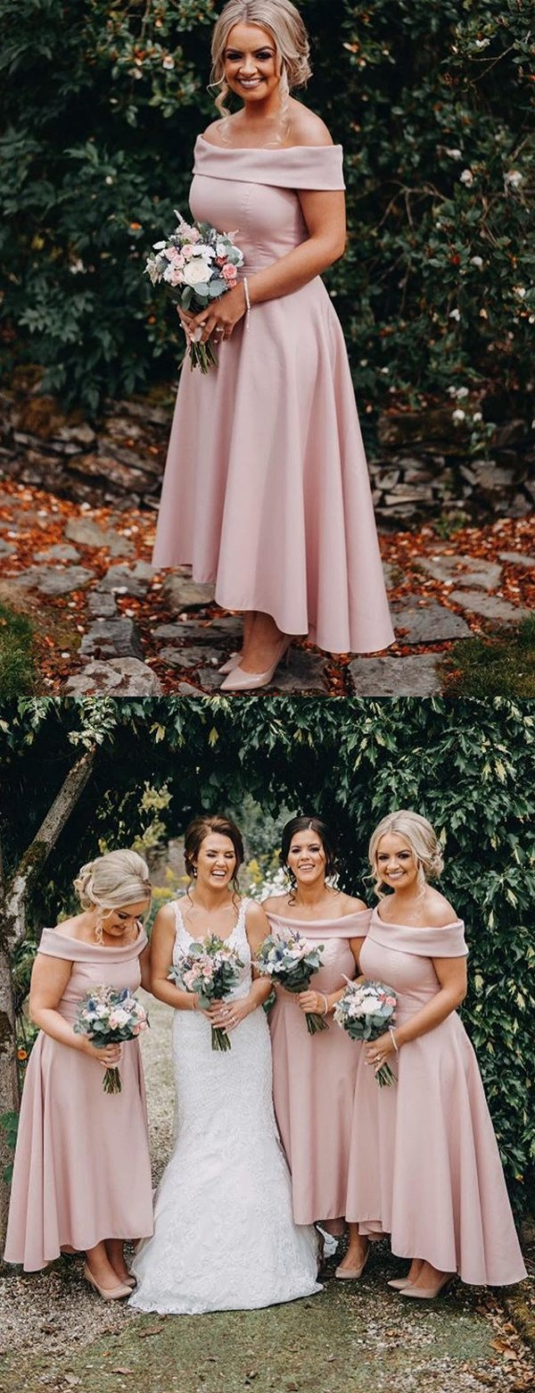 Dusty Pink Jersey Off Shoulder High Low Ankle Length Bridesmaid Dresses,B3099