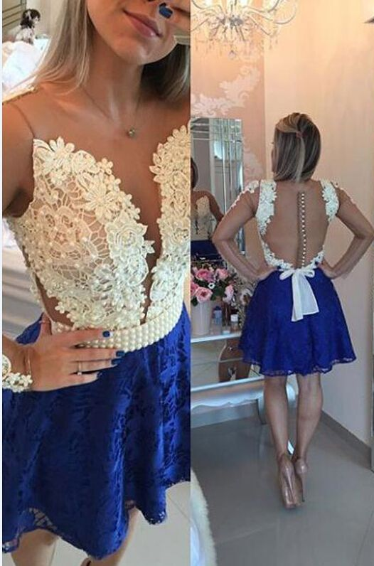 54872d8c8ca Sexy A-line Lace Homecoming Dress with Beading, Long Sleeves Homecoming Gown,  Blue Lace Homecoming Dress, Short Lace Prom Dress, Sexy V neck Party Dresses,  ...