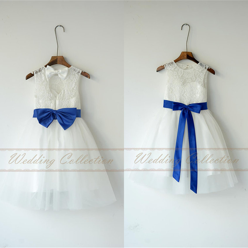 3579afbc072 Ivory White Lace Tulle Flower Girl Dress With Royal Blue Sash and Bow