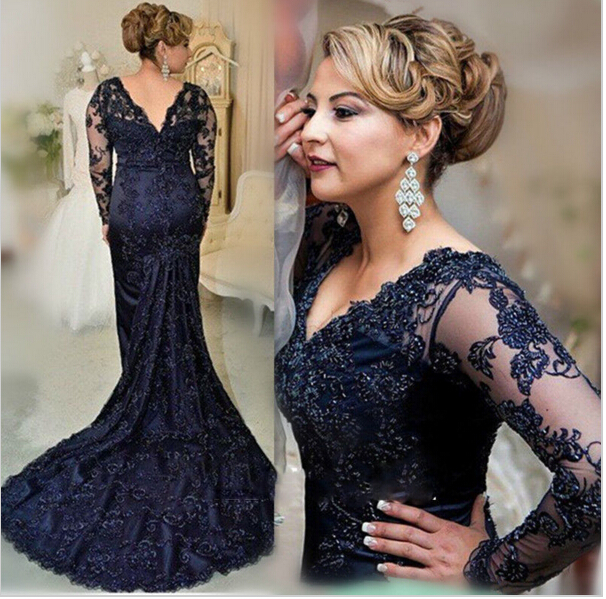44f6ad58efcc Sexy V Neck Long Mermaid Lace Prom Dresses, 2016 Vintage Navy Blue Lace  Evening Dresses , Long Sleeve Formal Evening Dress With Appliques, Sexy  Mermaid ...