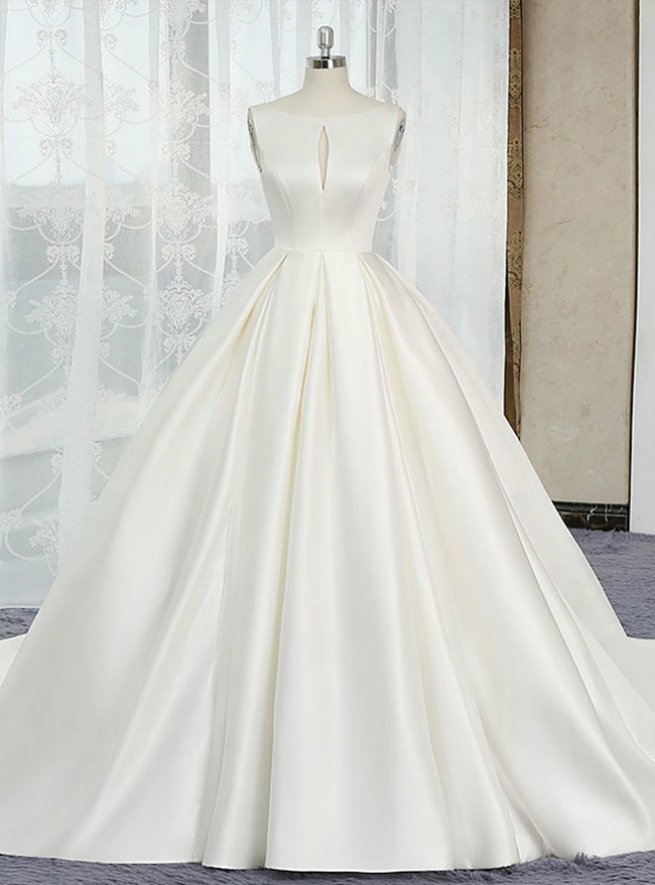 Ivory White Ball Gown Satin Cut Out Backless Wedding Dress W3818