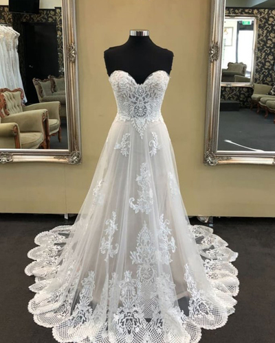 2019 White sweetheart neck long A-line beaded wedding dress, lace prom dress,W3885