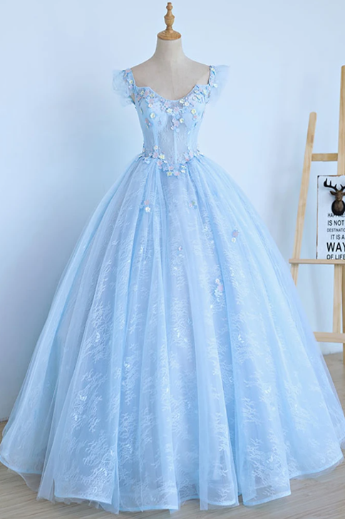 Light Blue Lace Cap Sleeve Long Sweet 16 Prom Dress, Evening Dress,P3317