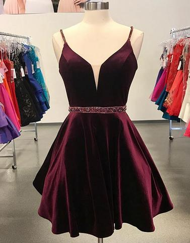Simple A-Line Spaghetti Straps Burgundy Short Homecoming Dress with Beading,H3339