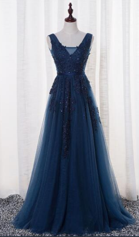 New Navy Blue Evening Dresses Vestido De Festa V Neck Cap Sleeve Vintage Lace Appliques Beaded Prom Dresses,P3349