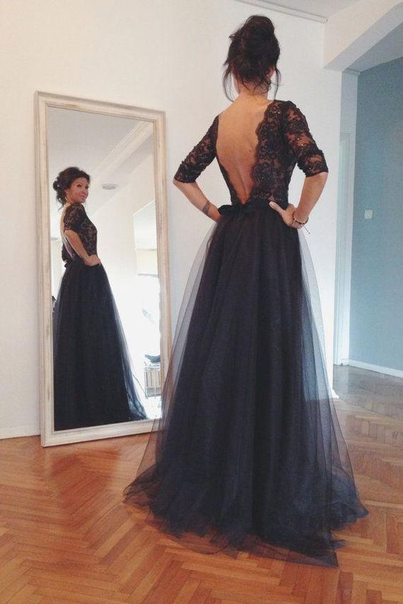Hot Style Lace And Tulle Black Prom Dresses Half Sleeves Open Back ...