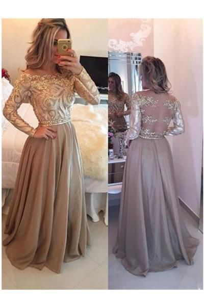 d2775491ee1 Elegant Long Sleeve Prom Dress