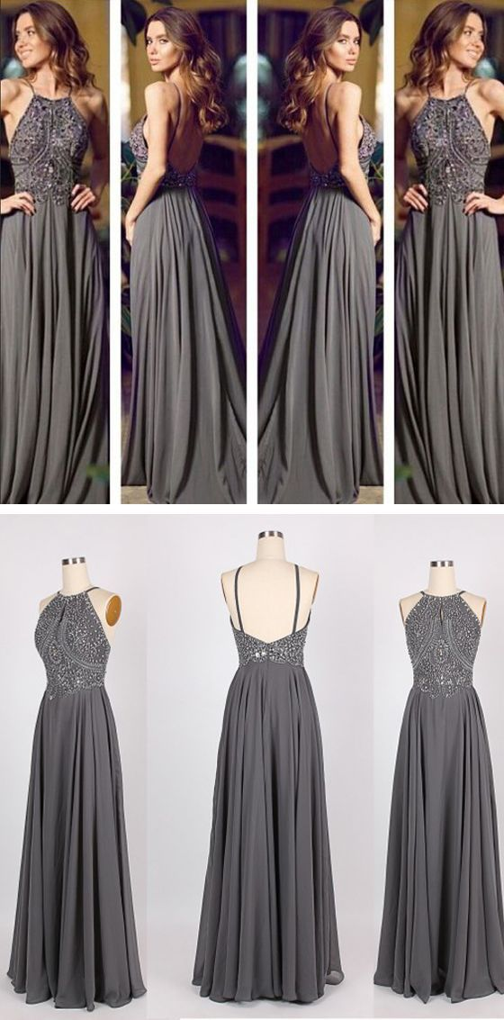 Long Prom Dress Grey Prom Dress Backless Prom Dress Chiffon