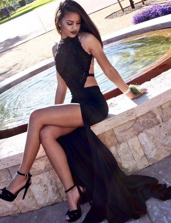 bf7d2221d2 Sexy Black Halter Satin Mermaid Long Prom Dresses, Side Slit Prom Dress,  Lace Sequins