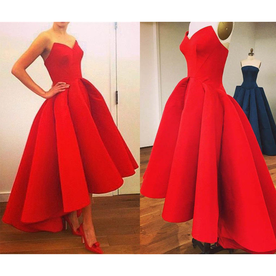 Red High Low Prom Dresses, Asymmetrical Satin Ball Gown Prom Dress ...