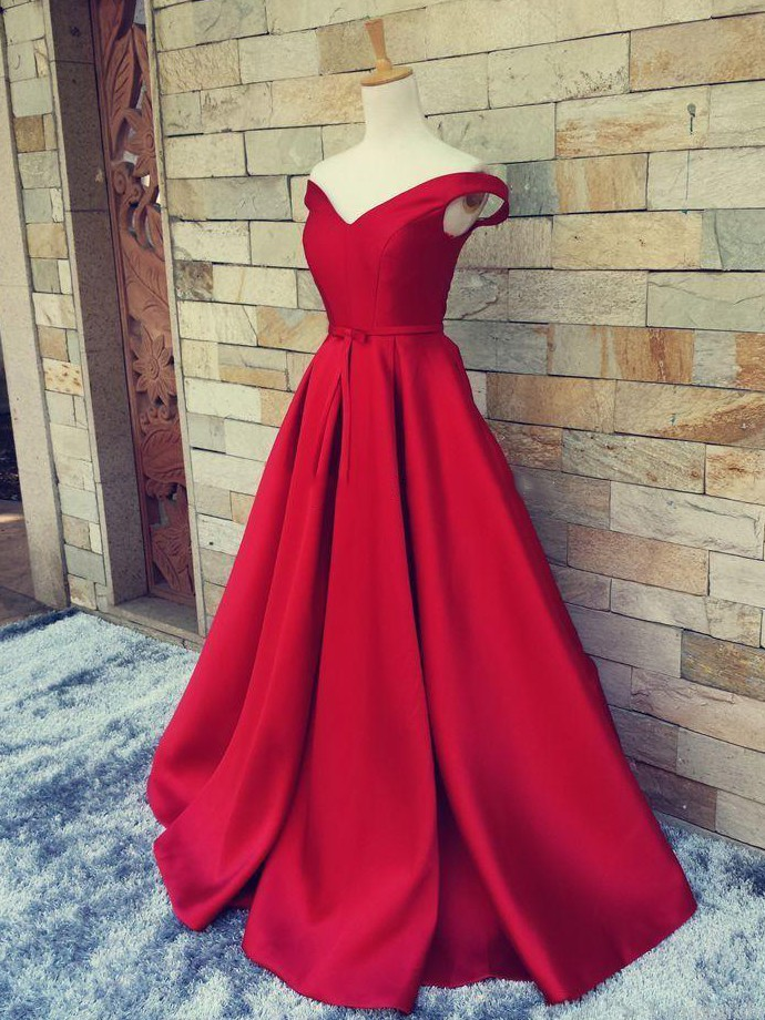 Off-the-shoulder Red Satin Sweep Train
