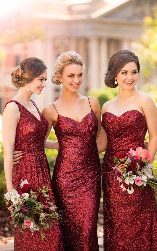 ddc2246482 Burgundy Sequins Bridesmaid Dresses