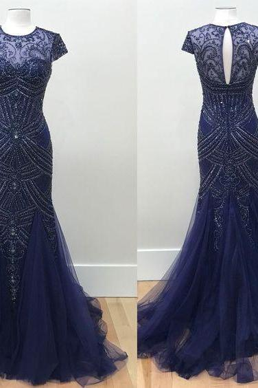 Luxurious Mermaid Round Neck Cap Sleeves Long Prom Dress with Beading Keyhole