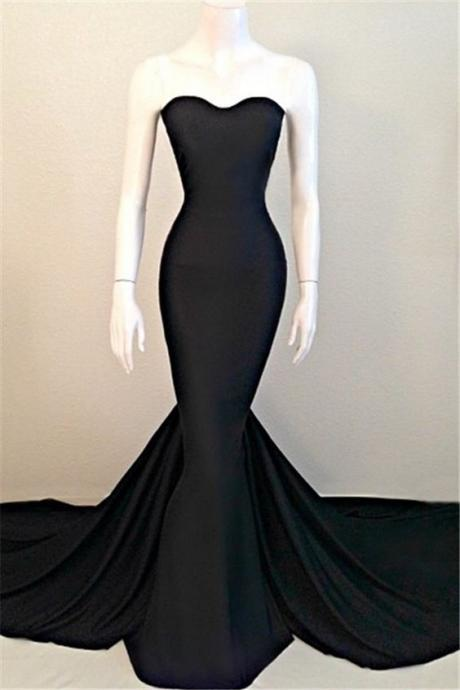 Sexy Mermaid Black Sweetheart Evening Dress 2016 Sleeveless Sweep Train_High Quality Wedding & Evening Prom Dresses