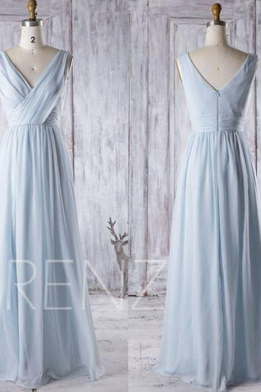 2017 Light Blue Chiffon Bridesmaid Dress, V Neck Wedding Dress, Long Baby Blue Prom Dress, V Back Women Evening Gown Floor Length