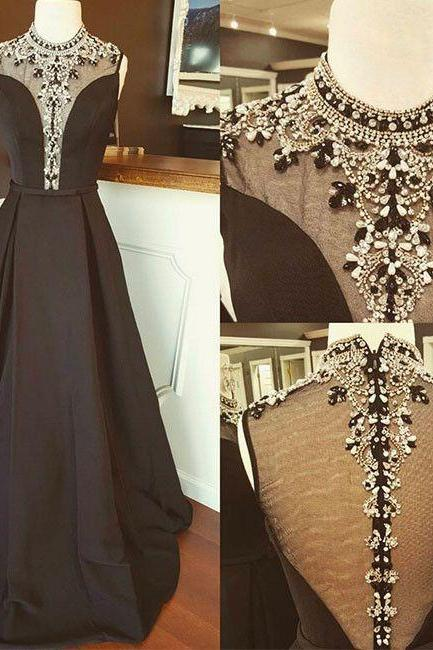 Elegant A-Line High Neck Black Long Prom Dress with Beading