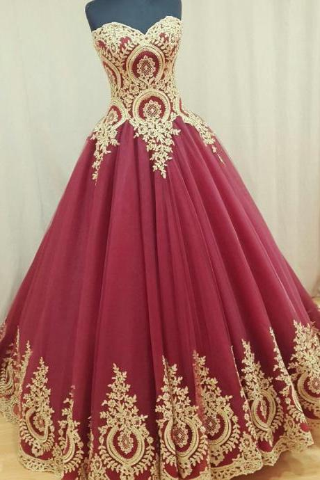 Wine Red Wedding Dress,Burgundy Wedding Gowns,Ball Gown Wedding Dresses,Bridal Dress, Burgundy Prom Dress, Luxury Wedding Dress