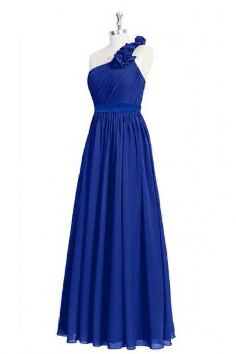 Beautiful Floor Length Bridesmaid Dresses, Formal Gowns,Prom Dresses,Elegant One Shoulder Royal Blue Bridesmaid Dresses, Wedding Party Dresses,Evening Gowns