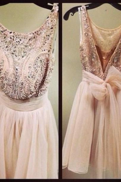 Luxury Beaded Sexy Short Prom Dresses 2016, Pink Party Dresses, Custom Made Vestido De Festa, Backless Homecoming Gowns, Short Evening Dresses