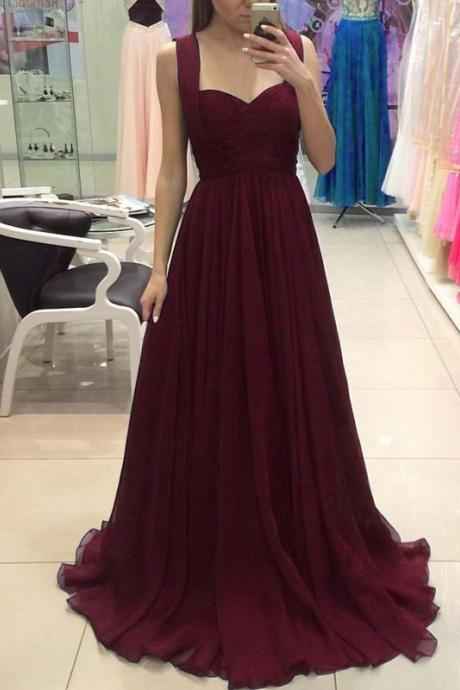 Simple Prom Gown,A-Line Prom Dresses,Sweetheart Bridesmaid Dress,Burgundy Chiffon Long Evening Dress,Sleeveless Prom Dress,Long Formal Dresses,Evening Dresses
