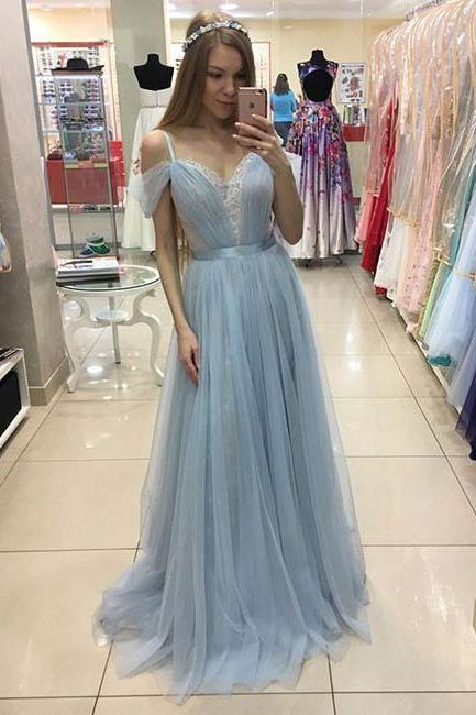 Glamorous Prom Dress,A-Line Off-Shoulder Prom Gowns,Light Blue Prom Gown,Tulle Lace Long Evening Dress,Long Formal Dress,Long Evening Dresses,Tulle Wedding Dress