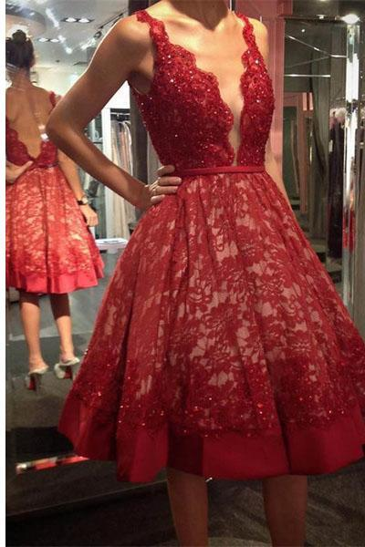 Red Prom Dress,Short Dress,Short Prom Dresses,Lace V-neck Homecoming Dress,Knee Length Prom Dress,A-line Short Prom Dress,Princess Dress
