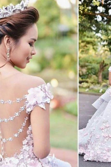 Floral Ball Gown,Off the Shoulder Layered Prom Dress,Custom Made Evening Dress