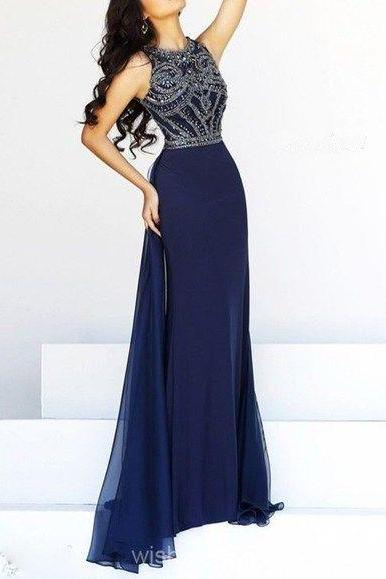 2017 Modest Navy Blue Prom Dress,Sleeveless Prom Gown,Chiffon Party Dress,Side Slit Beaded Evening Dress
