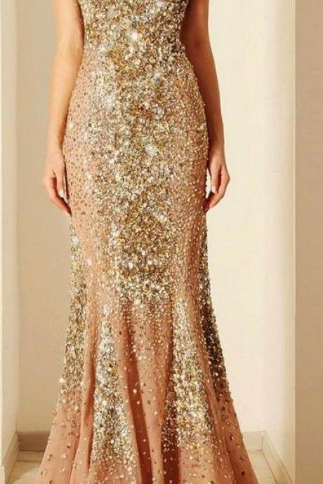 Beautiful champagne color with gold diamonds prom dresses,mermaid sweetheart charming dresses