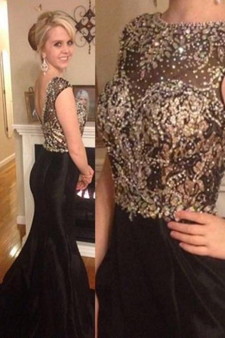 Black Prom Dress,Beading Prom Dress,Floor Length Evening Dress,Mermaid Style