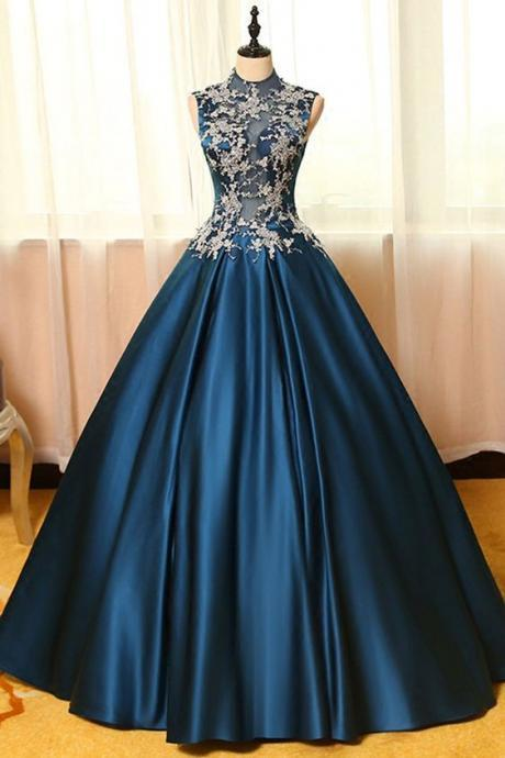 Blue satin lace applique round neck see-through A-line long prom dresses,ball gown dresses