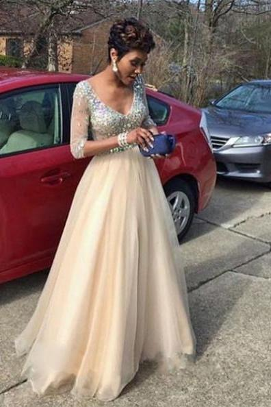 Prom Dresses With Sleeves,Champagne Prom Dresses,V-neck Prom Dress,Modest Prom Dress,Elegant Prom Dress,A-line Prom Gowns,Long Prom Dress,Handmade Evening Dresses,Pretty Party Dresses