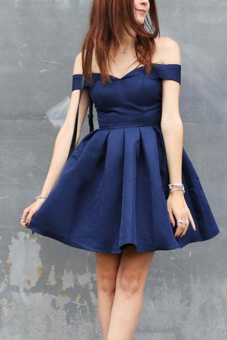 Off the shoulder Navy Short Homecoming Dress,Short Party Dresses,Prom Dresses