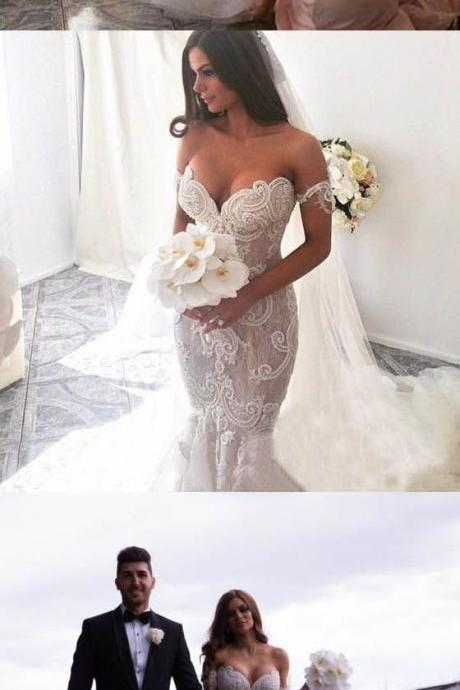 Off the Shoulder Mermaid Applique Charming Long Wedding Dress