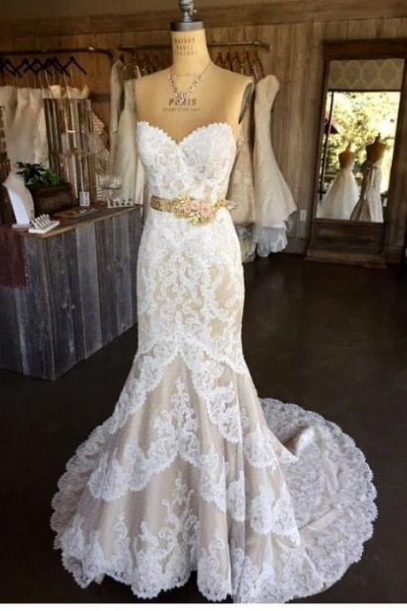 Strapless Sweetheart Lace Mermaid Wedding Dress With Floral Sash