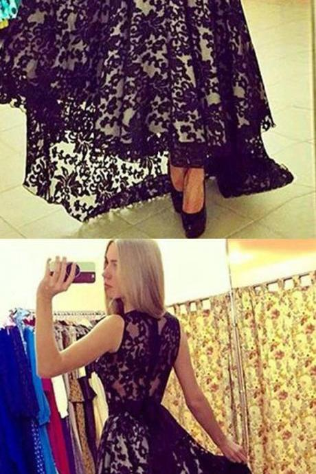 Prom Dresses ,prom gown,lace high-low black prom dress for teens, black evening dress