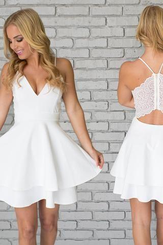 Unique Two Pieces Spaghetti Straps Tiered White Homecoming Dress with Lace