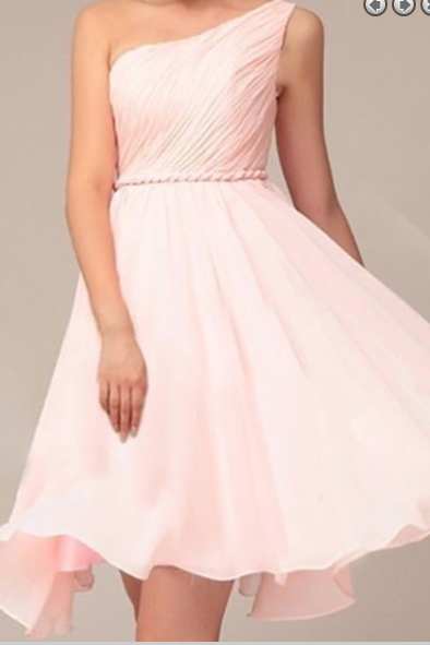 Simple Dress Elegant One-shoulder Ruched Pink Chiffon Bridesmaid Dresses, Wedding Reception Dresses