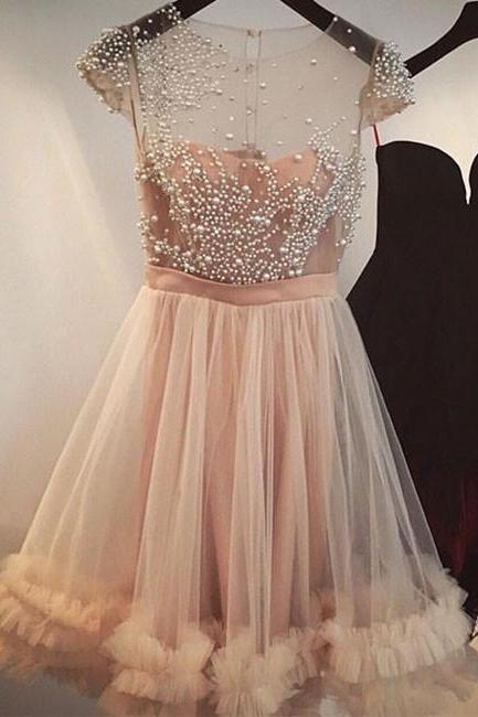 Fashion A-Line Jewel Cap Sleeves Tulle Short Homecoming Dress With Beading